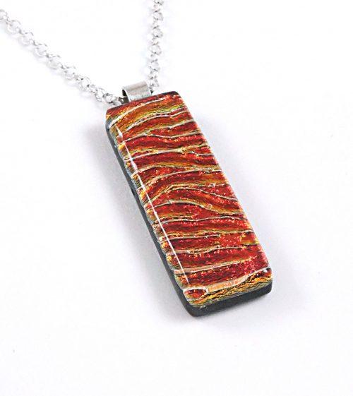 Red / Orange Dichroic Fused Glass Pendant