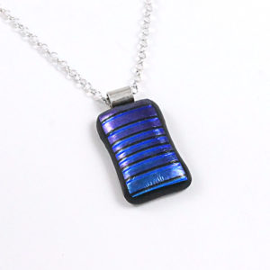 Unisex Blue Dichroic Fused Glass Pendant