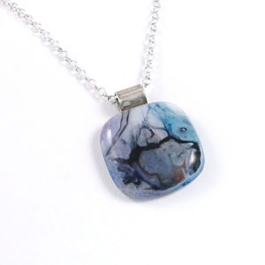 Unique Blue / Black Abstract Glass Pendant