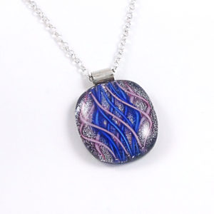 Unique Blue / Pink Dichroic Fused Glass Pendant