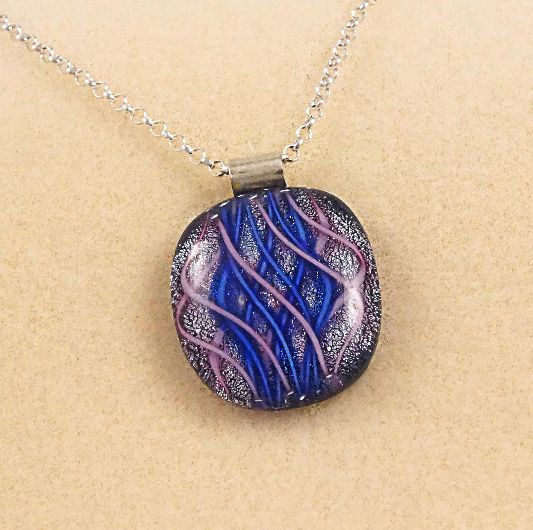 Unique Blue / Pink Dichroic Fused Glass Pendant