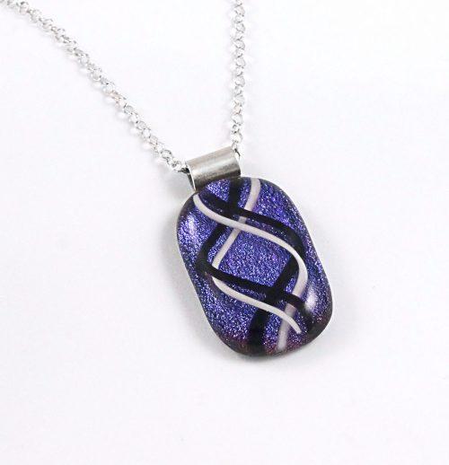 Unique Black, White, Purple Dichroic Fused Glass Pendant