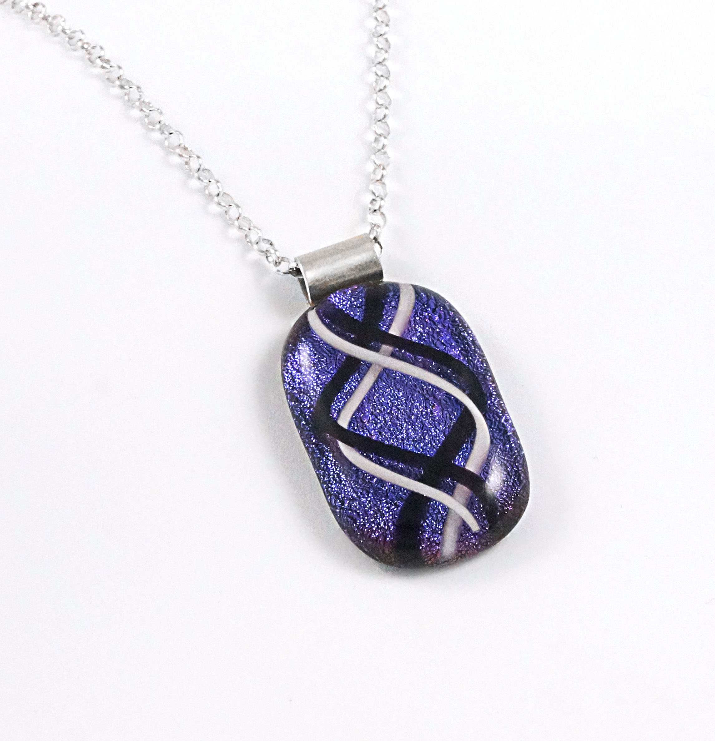 Unique Black, White, Purple Dichroic Fused Glass Pendant