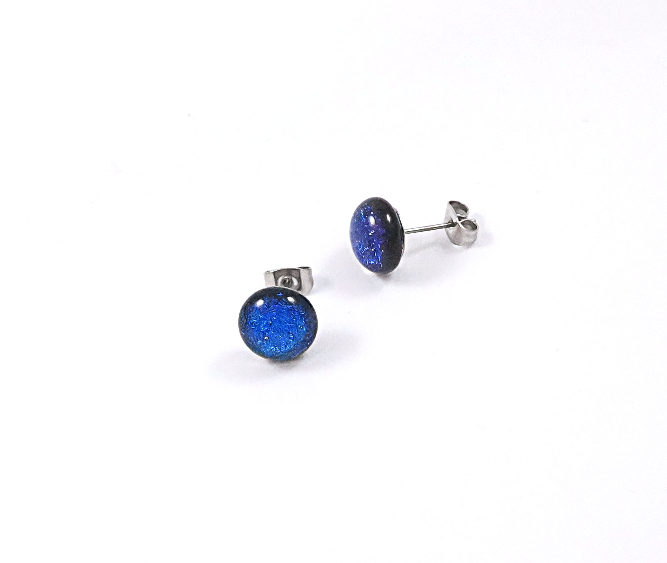 Blue Dichroic Stud Earrings