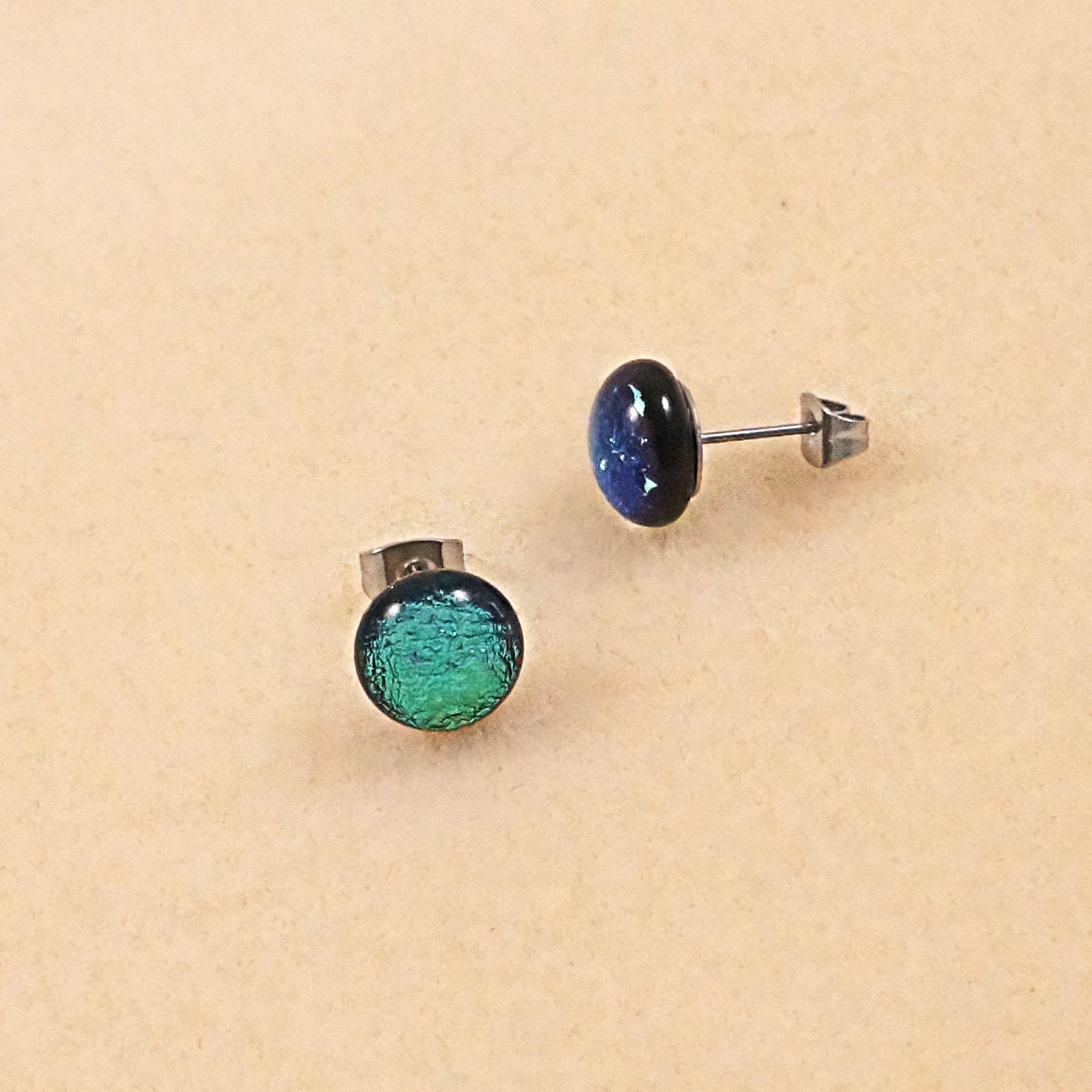 green dichroic stud earrings