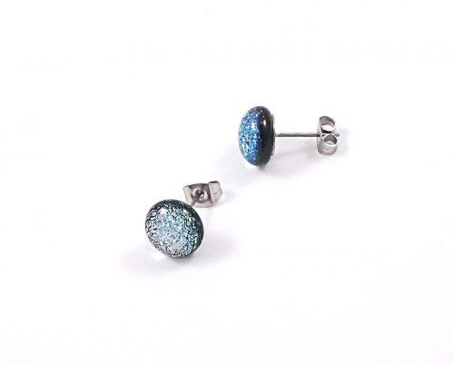 silver dichroic stud earrings