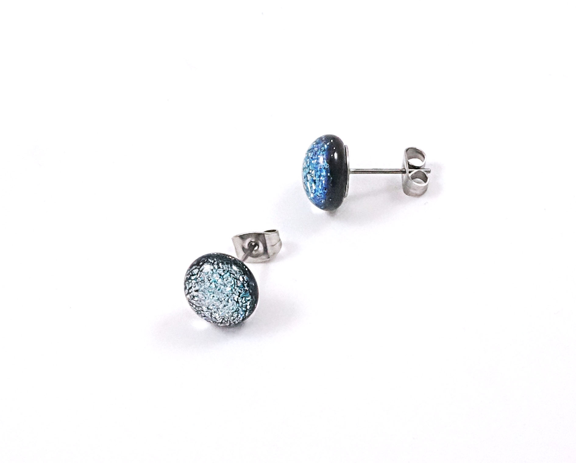 silver dichroic stud earrings