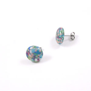 Large Pebble Glass Stud Earrings – E
