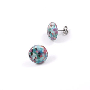 Large Pebble Glass Stud Earrings – C