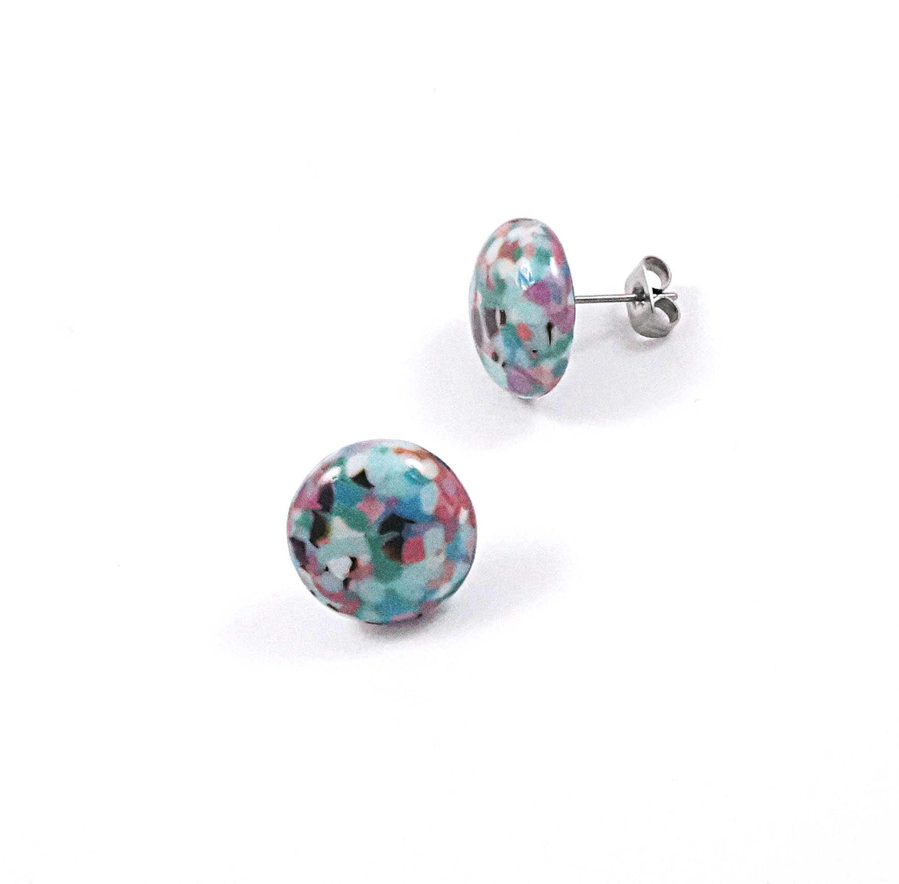 Pebble Glass Stud Earrings