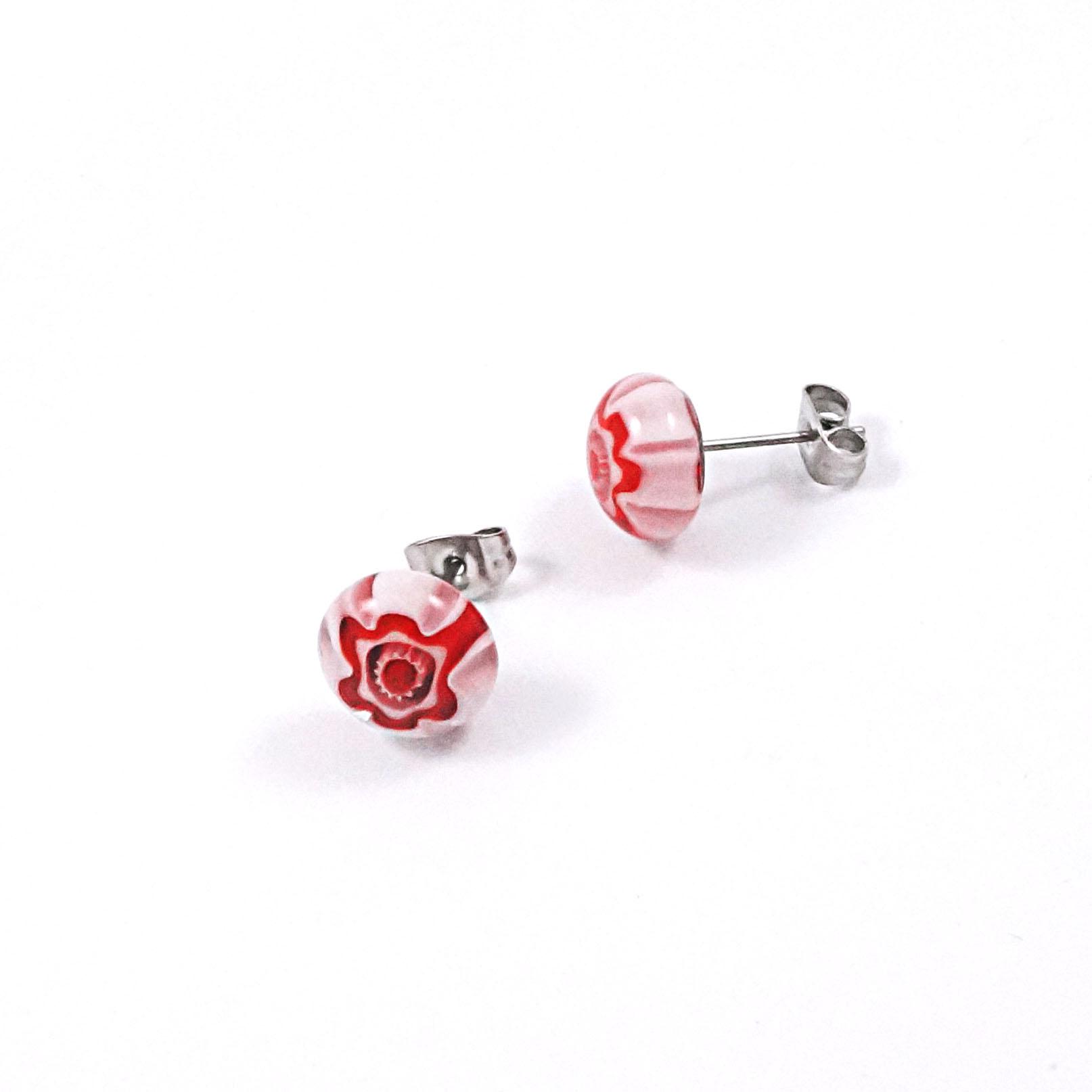 Red & Pink Millefiori Stud Earrings