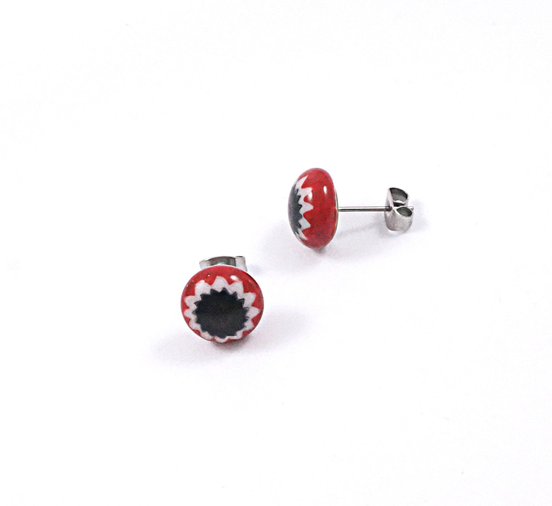 red & black millefiori stud earrings
