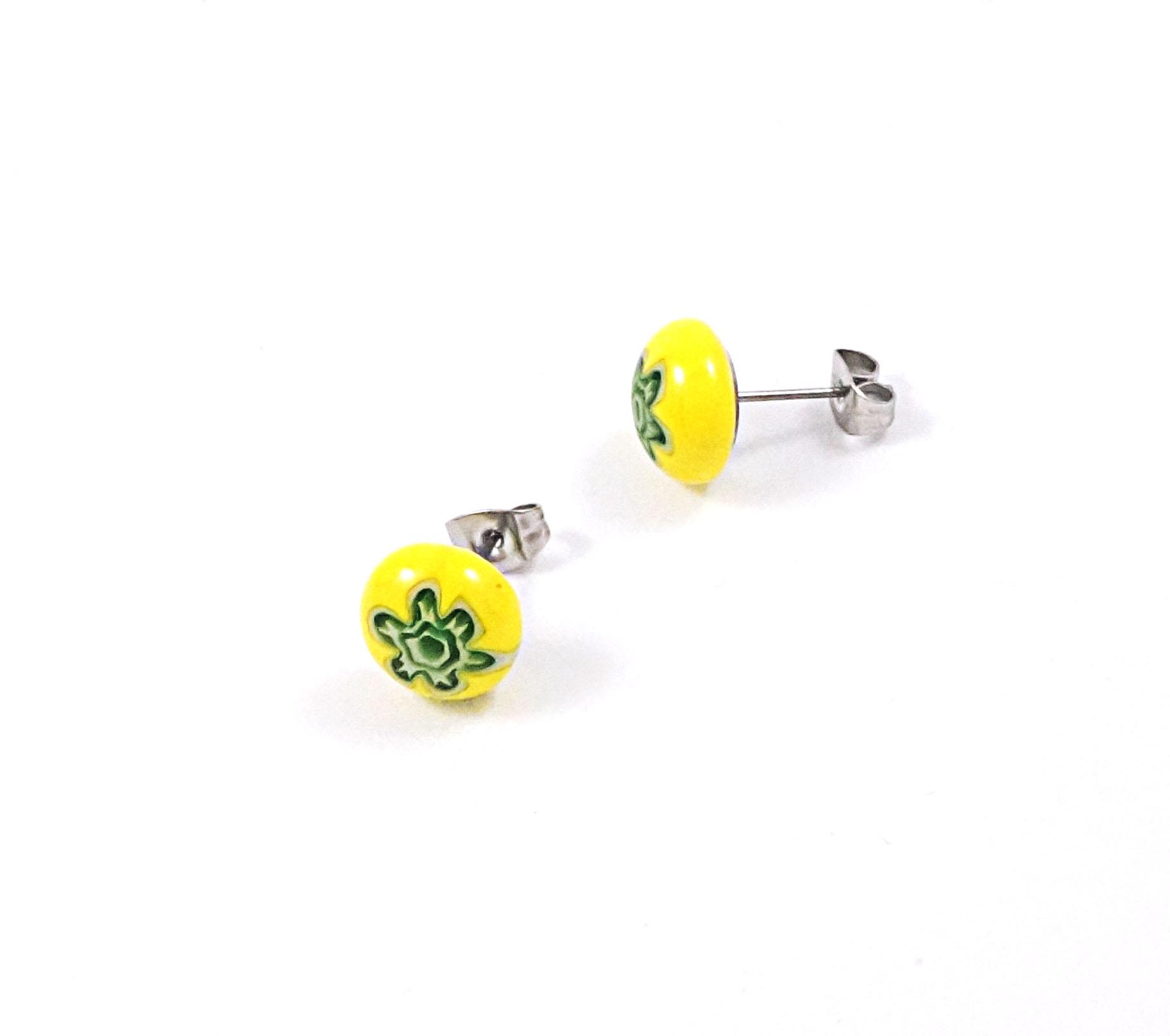 Yellow & Green Millefiori Stud Earrings